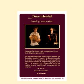 """Concert """"Duo oriental"""" le samedi 30 mars à 20h00"""